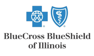Blue 'BlueCross BlueShield of Illinois' logo.