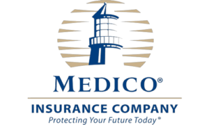 Blue and gold 'Medico Insurance Company. Protecting Your Future Today' logo.